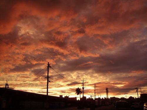 台風の日の夕方